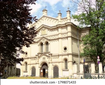 Panoramic view of Tempel Synagogue in Krakow, Poland. Tempel Synagogue is one of Jewish temples in Jewish quarter in Krakow. 2017-6
