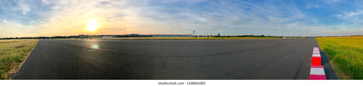 Panoramic view of the Tempelhofer Feld former airfield in Berlin, Germany in summer 2018.