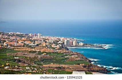 Panoramic view of Tenerife city in the Orotava valley on Tenerife Island, Canary,  Spain.