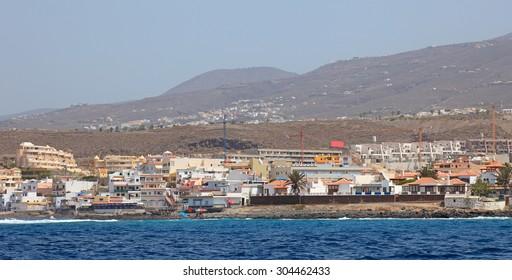 Panoramic view of Tenerife island from atlantic ocean.
