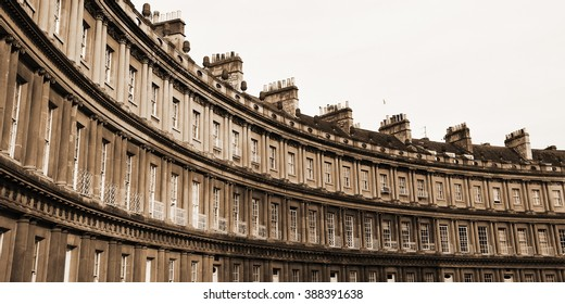 Panoramic View of of Terraced Georgian Era Town Houses on the Royal Circus in the City of Bath in Somerset England