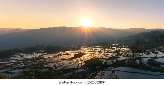 Panoramic view Terraced rice fields of YuanYang , China with beautiful sun rise