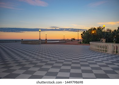 Panoramic view of Terrazza Mascagni (Mascagni terrace) in front of the Ligurian sea