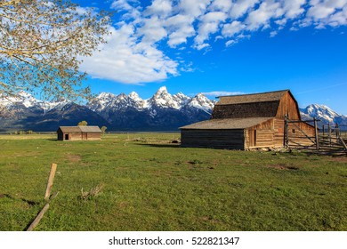 Panoramic view of the Teton mountains viewed from Mormon Row