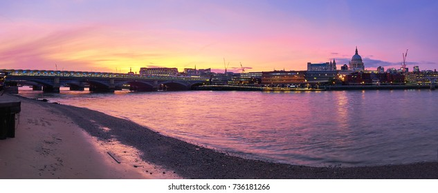 Panoramic view of Thames river on a sunset with Blackfriars bridge and St. Paul's cathedral in London, United Kingdom