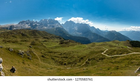 Panoramic view of theMountains around Madonna di Campiglio Madonna di Campiglio in the summertime, Italy,Northern & Central Brenta mountain groups ,Western Dolomites, Trentino-Alto Adige, Italy