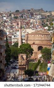 Panoramic view of Thessaloniki city with Rotonda monument, Greece