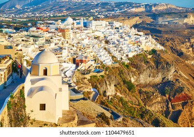 Panoramic view of Thira town on an edge of rock, Greece