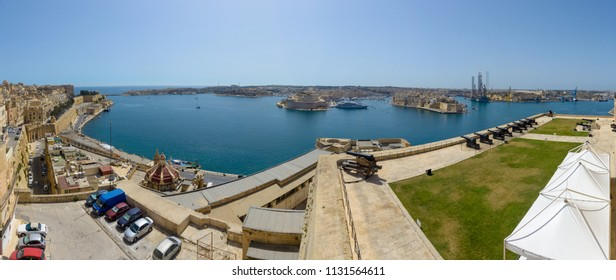 Panoramic view of Three City Malta, view from Upper Barrakka Gardens in Valletta