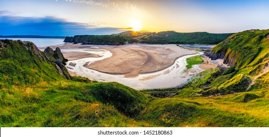 Panoramic view of Three Cliffs Bay, Gower, Wales, UK.