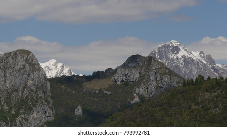 a panoramic view of the three hills of Canzo, Lombardy, Italy and in the background mount northern and southern grigna