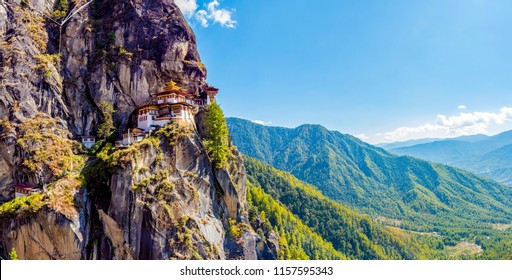 A panoramic view of the Tiger's Nest monastery also known as the Paro Taktsang on a clear day