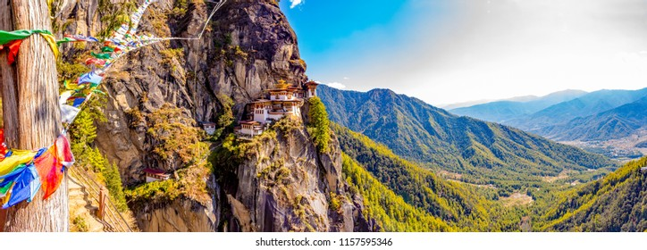 A panoramic view of the Tiger's Nest monastery also known as the Paro Taktsang and the surrounding area