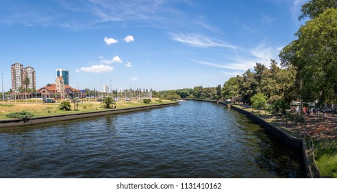 Panoramic view of Tigre River and Tigre Train Station - Tigre, Buenos Aires, Argentina