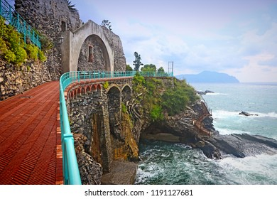 Panoramic view of the Tigullio gulf from the sea promenade  on the rocky coast of Genoa Nervi, Liguria, Italy