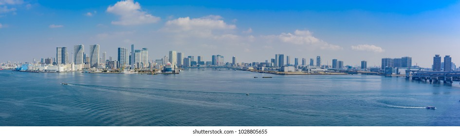 Panoramic view of Tokyo gulf area under sky