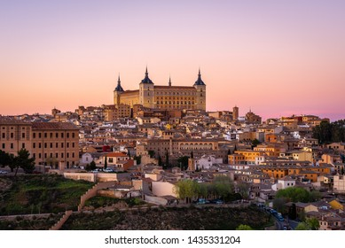 Panoramic view of Toledo with Alcazar castle at sunset, Castilla-La Mancha, Spain