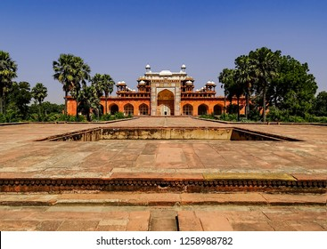 Panoramic view of the tomb of great Mughal Emperor, Jalal-ud-din Muhammad Akbar, at Sikandra, Agra in Uttar Pradesh, India