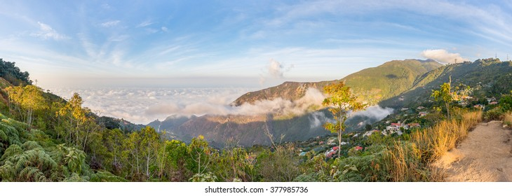 Panoramic view from the top of Avila mountain, facing the Caribbean sea, in Waraira Repano National Park, Venezuela. Galipan town and the Humboldt hotel are visible in the picture.