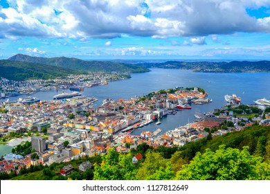 A panoramic view from the top of Bergen, Norway