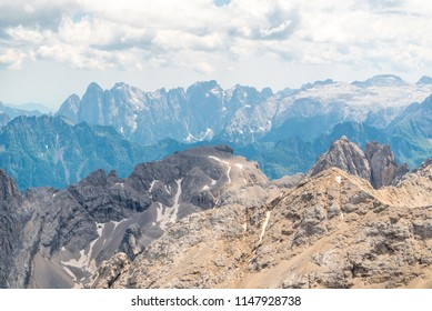 Panoramic view from the top of the Marmolada Glacier . Dolomites. South Tyrol. Italy. Beautiful view over the Marmolada glacier. Mountain landscape in Alps Dolomites Italy South Tirol
