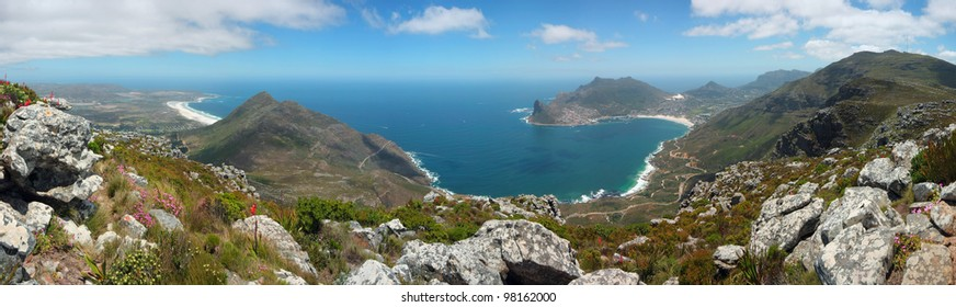 Panoramic view from the top of Noordhoek Peak, Silvermine Nature Reserve, Cape Peninsula, South Africa