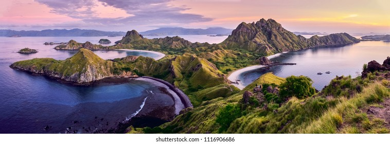 Panoramic view at top of 'Padar Island' in sunset (twilight) from Komodo Island, Komodo National Park, Labuan Bajo, Flores, Indonesia