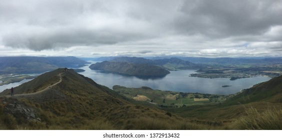 Panoramic view from the top of Roys Peak, Wanaka, New Zealand. Great tramp in New Zealand.