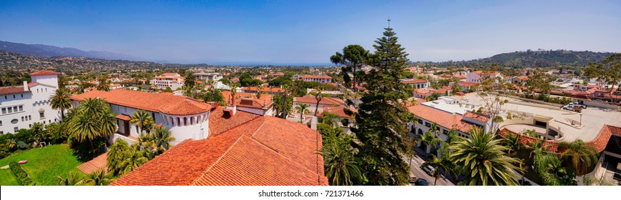 Panoramic view from the top of the Santa Barbara Courthouse
