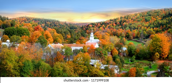 Panoramic view of Topsham village in Vermont