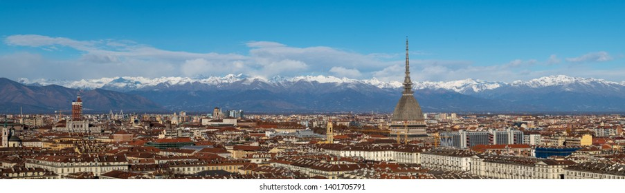 Panoramic view to Torino and the Alps