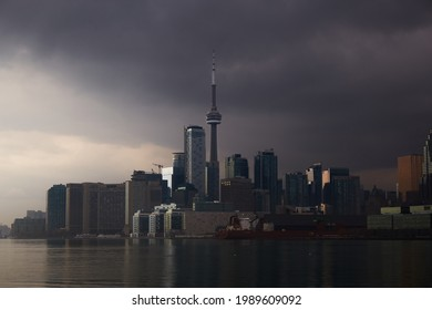 Panoramic view of Toronto city skyline during cloudy day before thunderstorm - Toronto, Ontario - 10th Feb, 2020