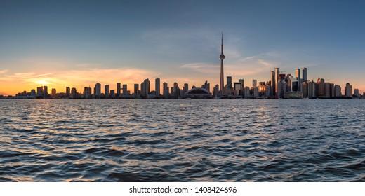 Panoramic view of Toronto city at sunset in Toronto, Ontario, Canada.