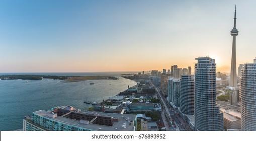 Panoramic view of Toronto Harbourfront on sunset. Toronto, Ontario, Canada