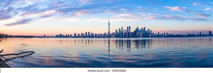 Panoramic view of Toronto skyline and Ontario lake - Toronto, Ontario, Canada
