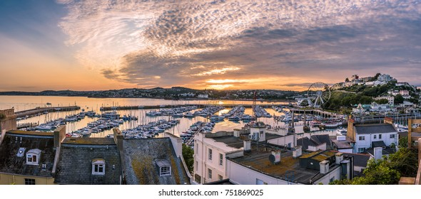 Panoramic view of Torquay harbour at sunset, Devon, England. High resolution
