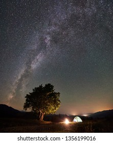 Panoramic view of tourist camping near big tree at night in mountains. Illuminated tent and bonfire under beautiful night sky full of stars and Milky way. Tourism adventure astrophotography concept