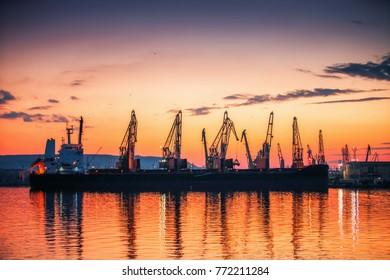 Panoramic view toward sea port and industrial cranes, Varna, Bulgaria