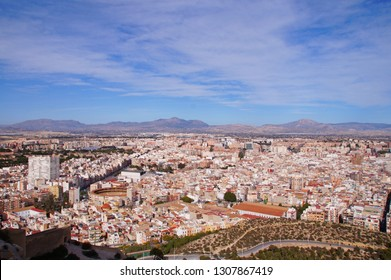 Panoramic view towards Alicante, Costa Blanca in Spain