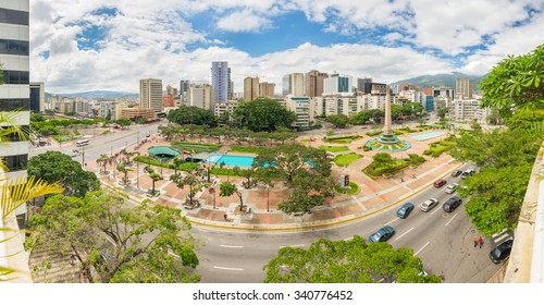 Panoramic view towards Francia Square (also known as Altamira Square), in the heart of Caracas, capital city of Venezuela.