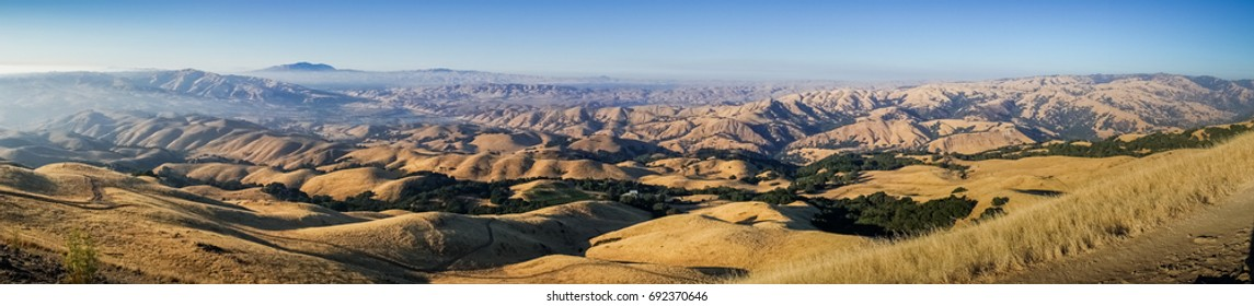 Panoramic view towards Mount Diablo at sunset from the summit of Mission Peak, San Francisco bay area, California