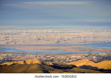 Panoramic view towards San Joaquin river, Pittsburg and Antioch from the summit of Mt Diablo; wind turbines in the background; Mt Diablo SP, Contra Costa county, San Francisco bay area, California