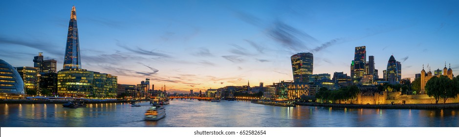 panoramic view from the Tower Bridge at the River Thames in London
