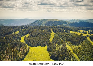 Panoramic view from the tower Feldbergturm the mountains of the Black Forest .Germany