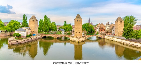 Panoramic view at the Towers of Ponts Couverts from Barrage Vauban bridge in Strasbourg, France