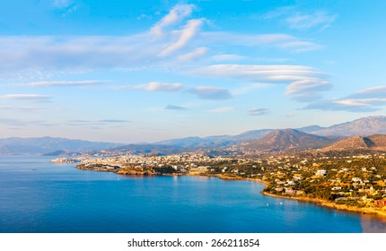 Panoramic view of the town of Agios Nikolaos and the Mirabello Bay. Crete, Greece. Agios Nikolaos is a picturesque town in the eastern part of the island Crete.