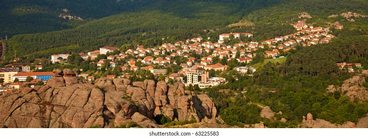 Panoramic view of the town of Belogradchik and some of the surrounding rock formations, Bulgaria.