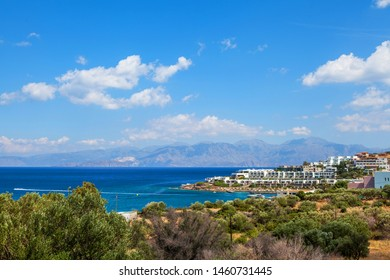Panoramic view of the town Elounda, Crete, Greece.Paradice view of Crete island with blue water. Panoramic view of Elounda nature.