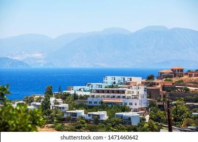 Panoramic view of the town Elounda, Crete, Greece.