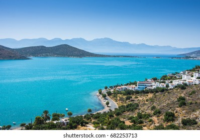 Panoramic view of the town Elounda, Crete, Greece.Paradice view of Crete island with blue water. Panoramic view of Elounda nature